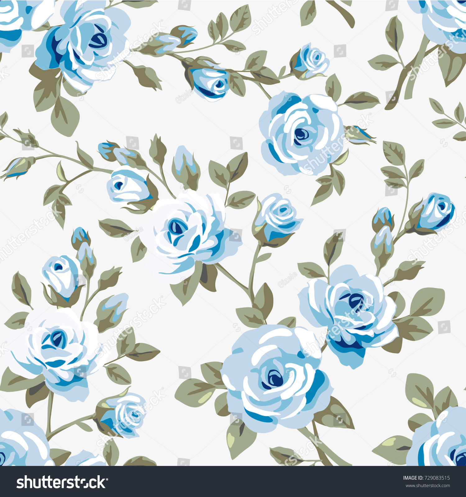 Seamless Pattern Blue Roses On White Stock Vector Royalty Free