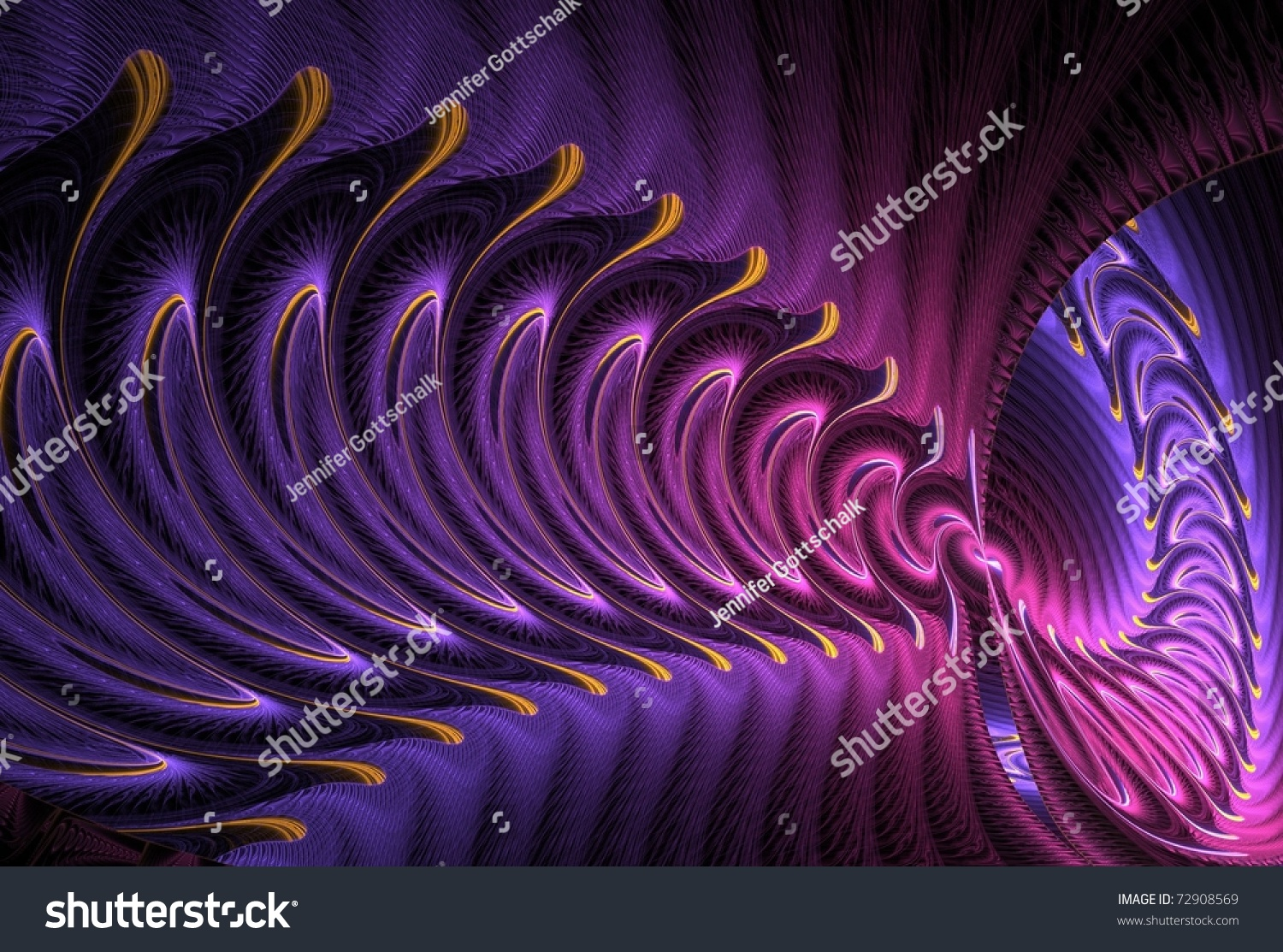 Vibrant Pink Purple Gold Abstract Fractal Stock ...