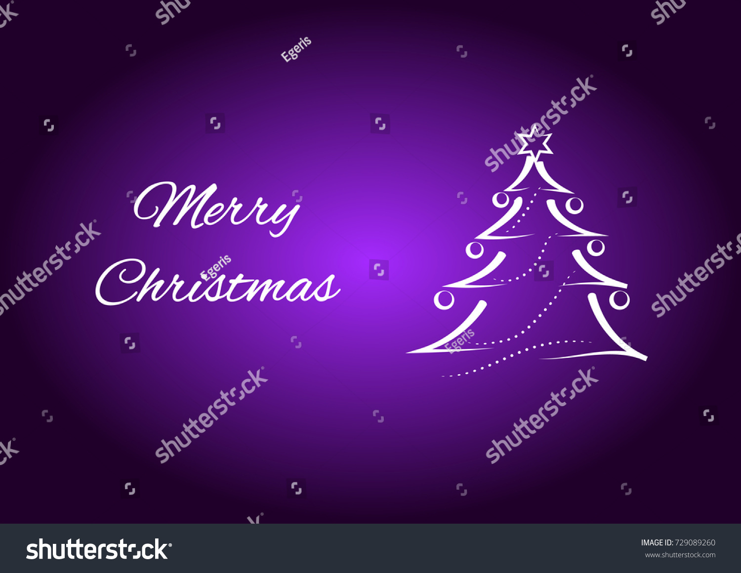Merry Christmas Card Wishes Christmas Tree Stock Vector Royalty