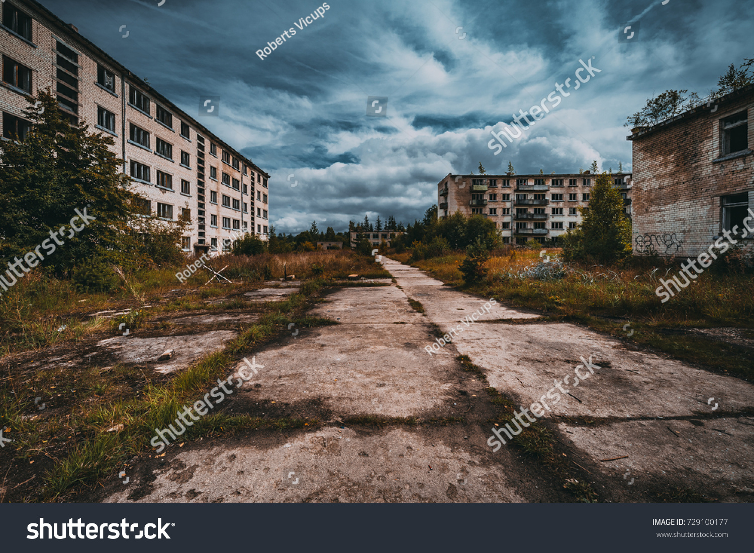 Abandoned ghost town Skrunda, Latvia. Abandoned ex Soviet buildings. Ruins of city. Ex Soviet legacy. World after nuclear war. No humans. #729100177