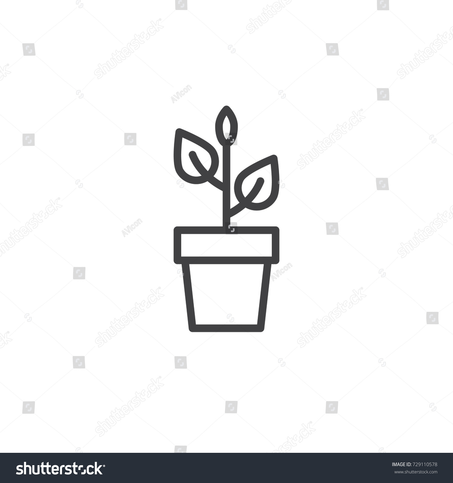 Plant flower pot line icon outline stock vector 729110578 shutterstock plant in flower pot line icon outline vector sign linear style pictogram isolated on ccuart Choice Image