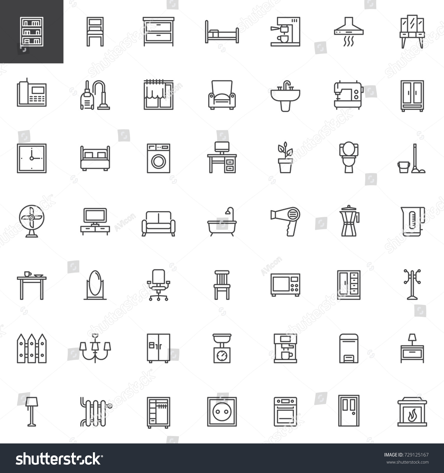 Home Interiors Furniture Line Icons Set Stock Vector 729125167