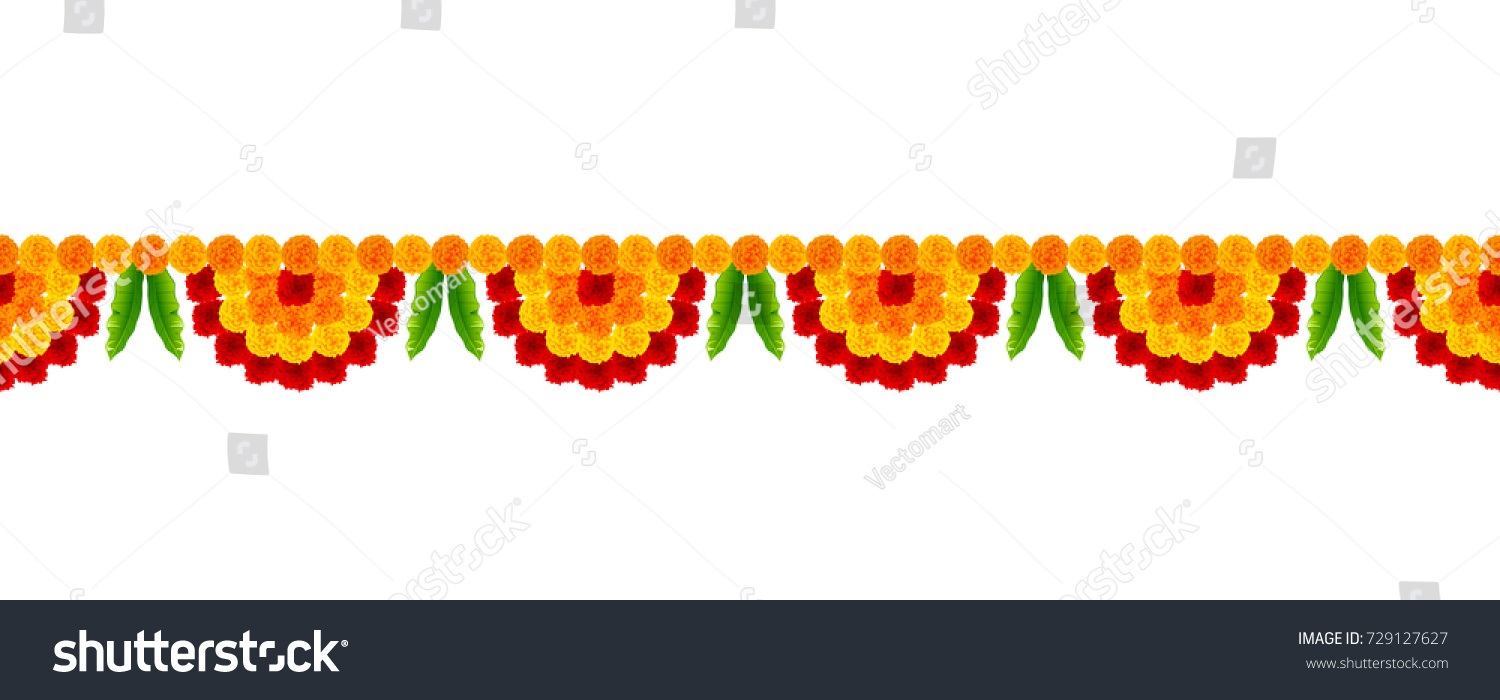 Illustration flower garland decoration toran happy stock for Background decoration images