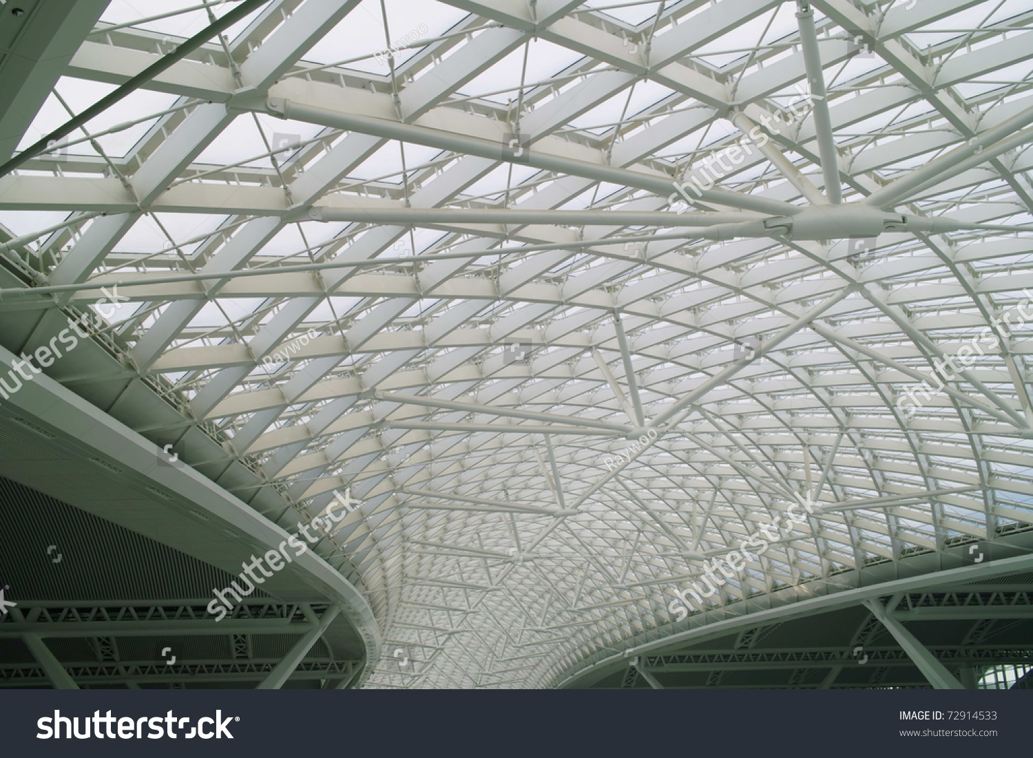 Modern Business Architecture Steel Glass Roof Stock Photo