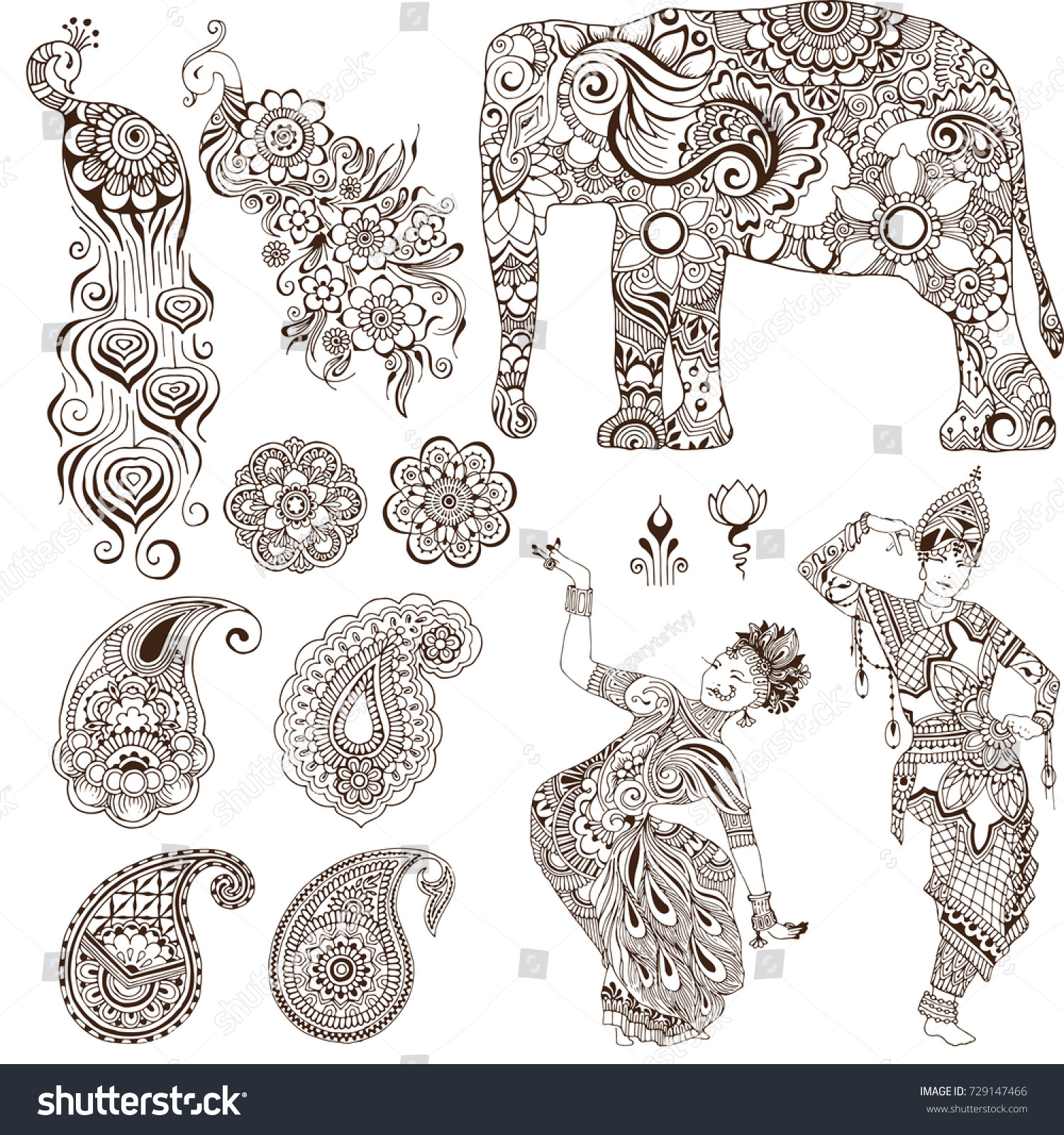 Elephant Dancers Peacock Paisley In The Mehendi Style Set Of Ornate Elements
