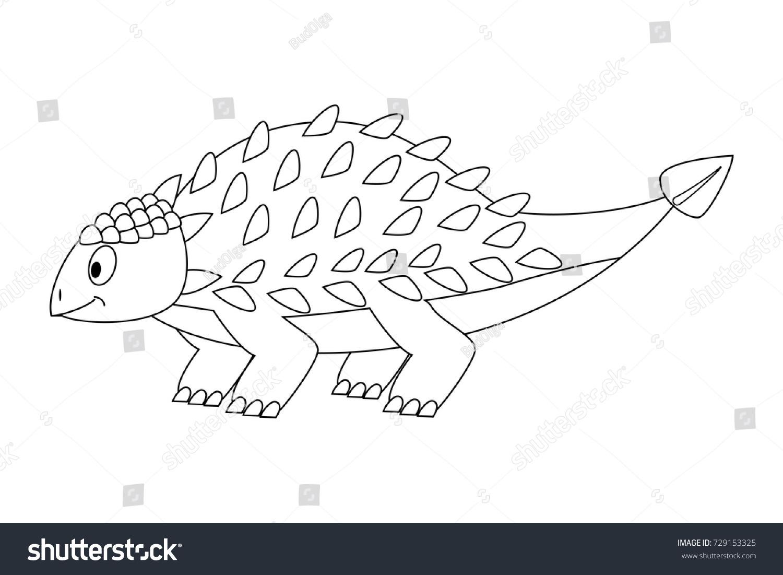 colorless funny cartoon ankylosaurus cartoon dinosaur stock vector
