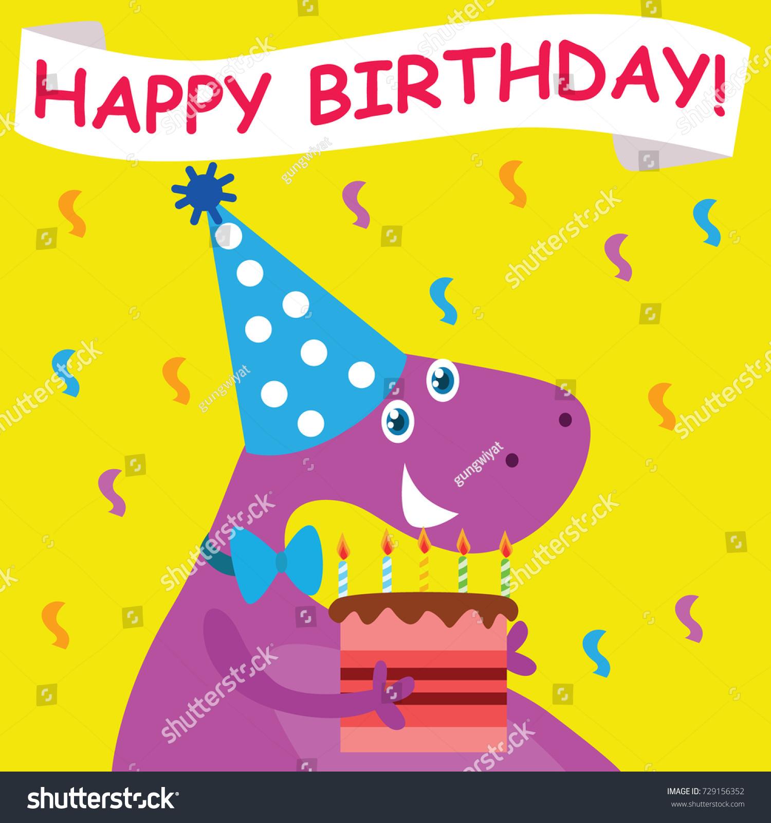 Dinosaur Birthday Card Template Children Series Stock Vector