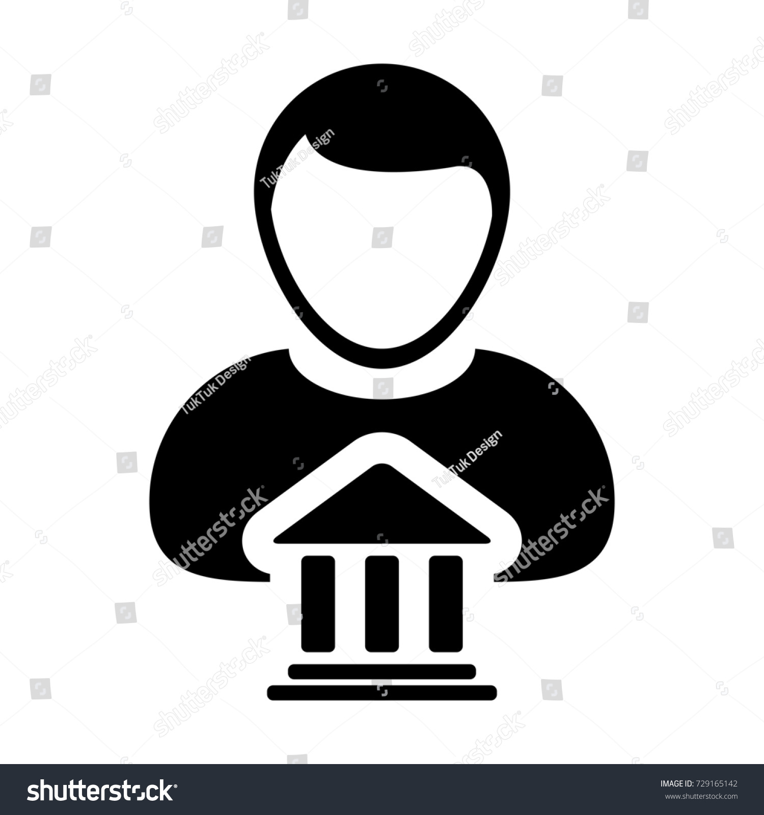 Bank icon vector person profile male stock vector 729165142 bank icon vector with person profile male avatar symbol for banking and finance in glyph pictogram biocorpaavc Gallery