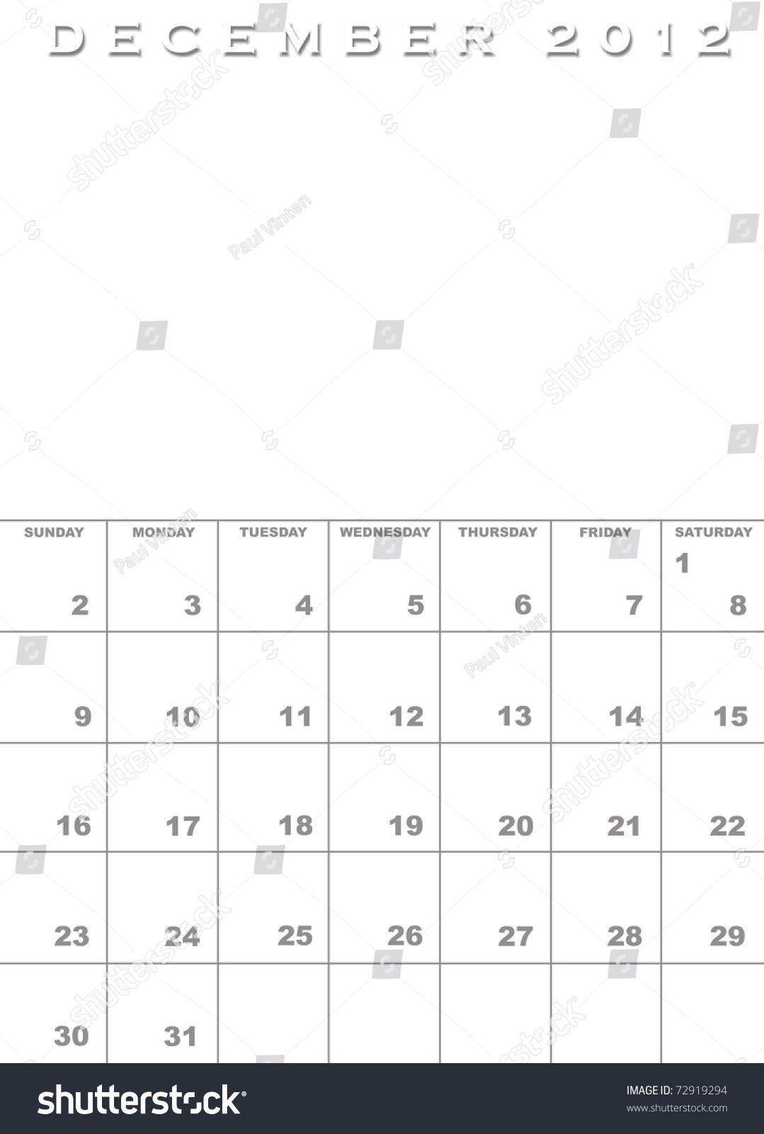 Royalty Free Month Of December 2012 Calendar 72919294 Stock Photo
