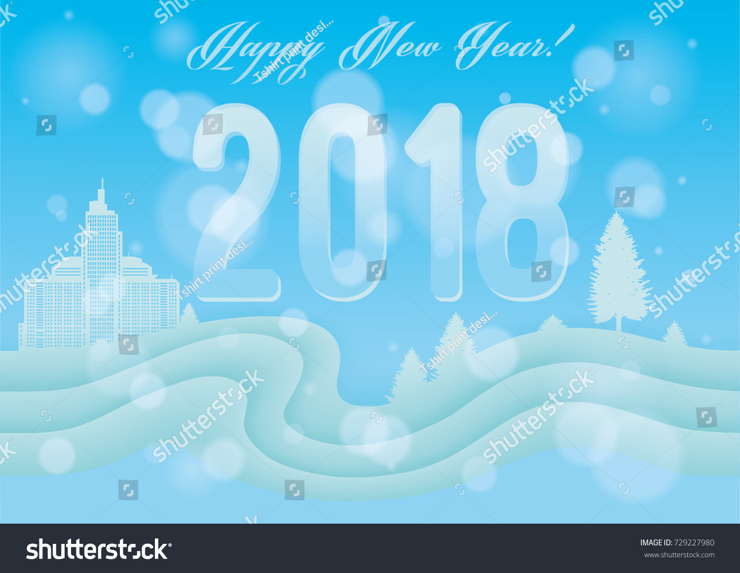 City Snow Snowy Landscape New Year Stock Illustration 729227980