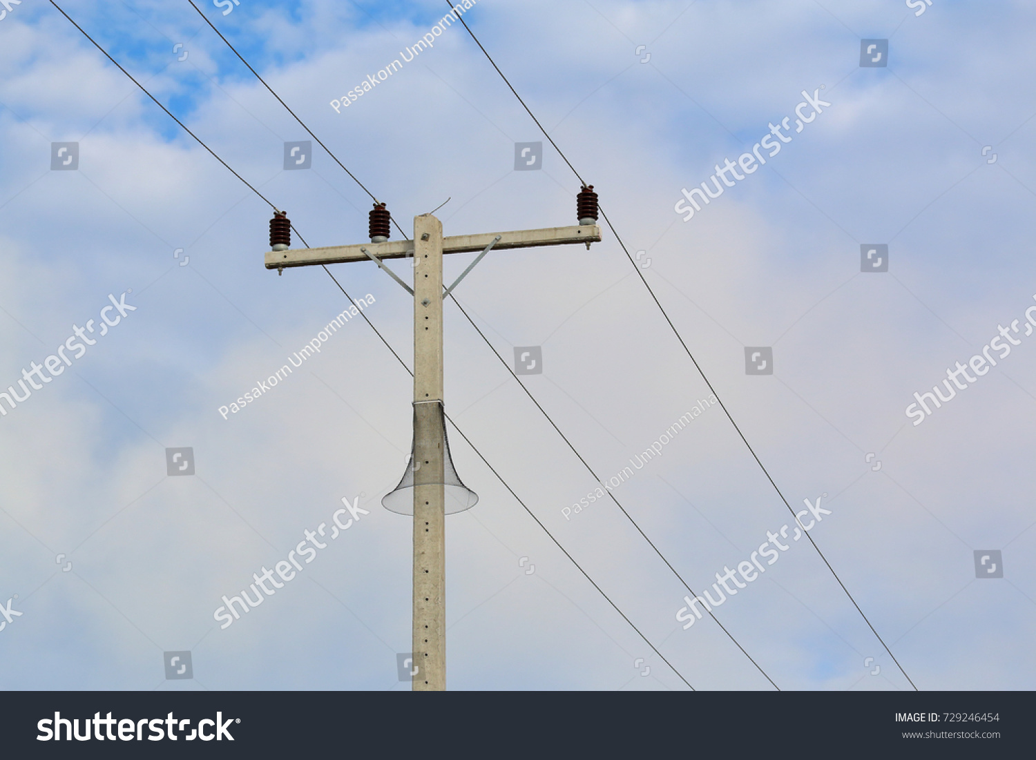 Electric Pole Connect To The High Voltage Wires On Blue Sky Wiring Id 729246454