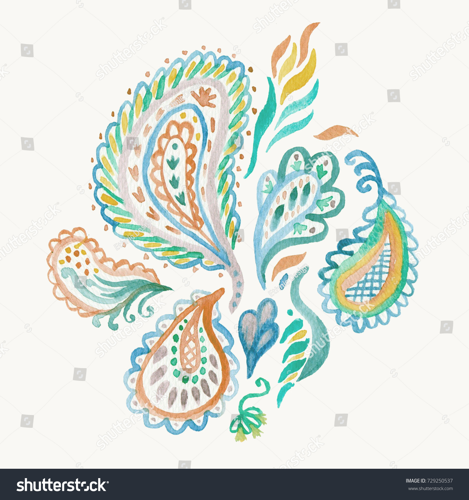 Paisley Watercolor Ethnic Card Pattern. Indian Artistic Handmade Batik  Print. Swimwear Fabric. Hand