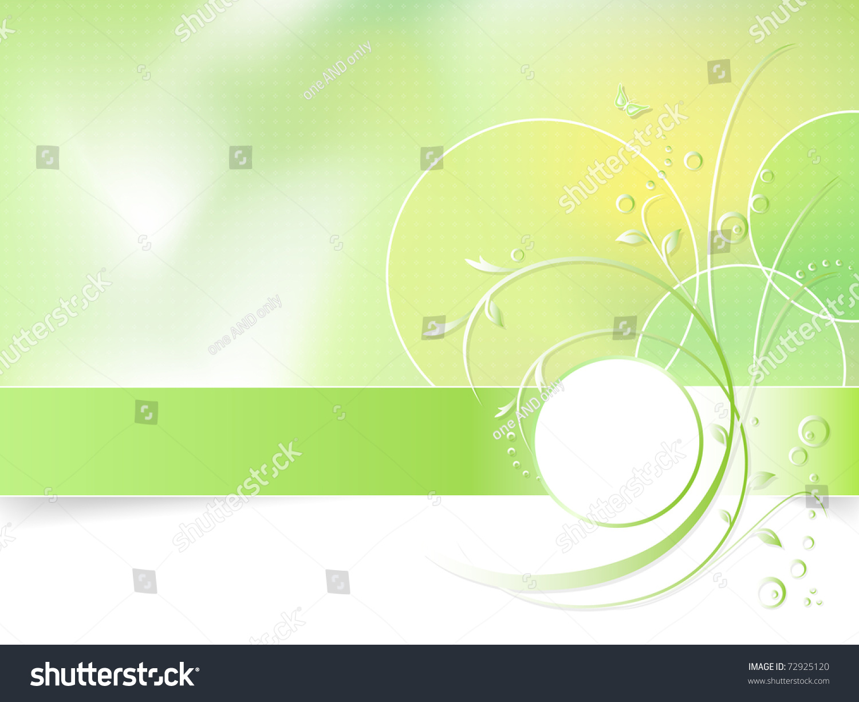 Green Floral Spring Background Greeting Card Stock Illustration