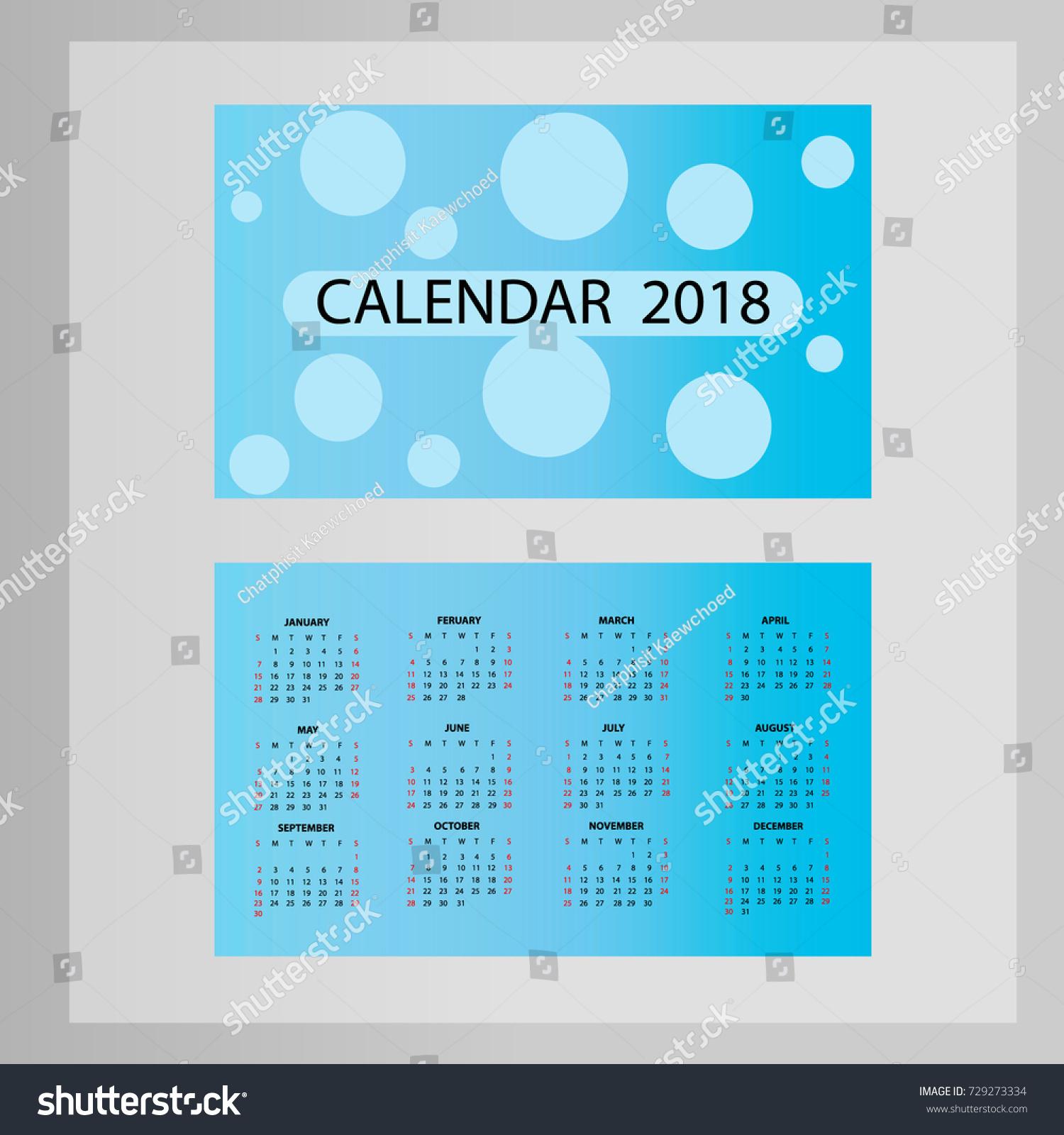 Business Card Calendar 2018 Vector Stock Vector Royalty Free