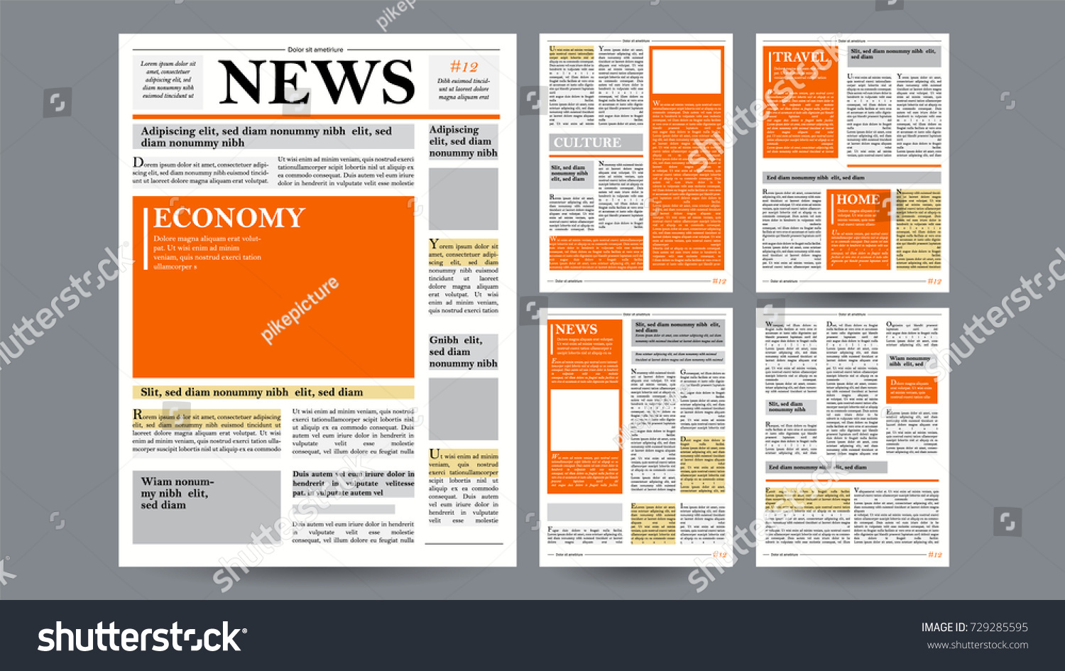 newspaper design template vector financial articles のベクター画像