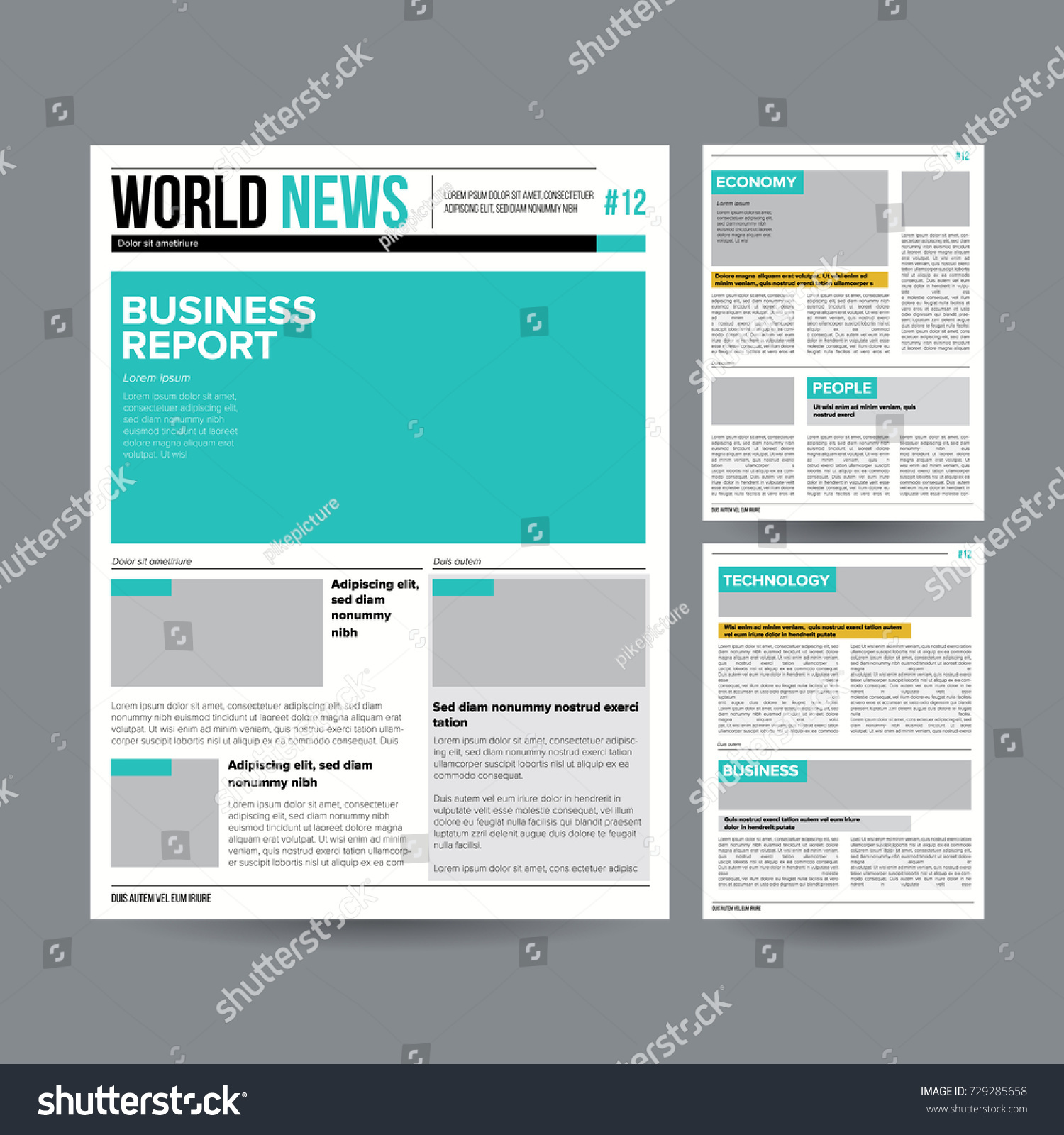 tabloid newspaper design template vector images stock vector