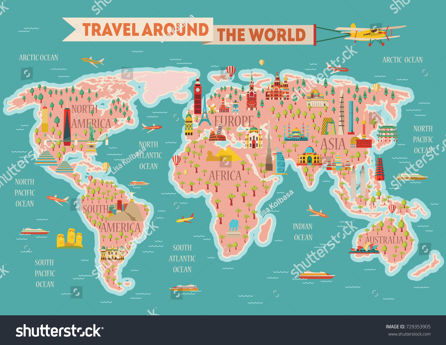World travel map poster travel tourism stock vector 729353905 world travel map poster travel and tourism background vector illustration gumiabroncs Choice Image