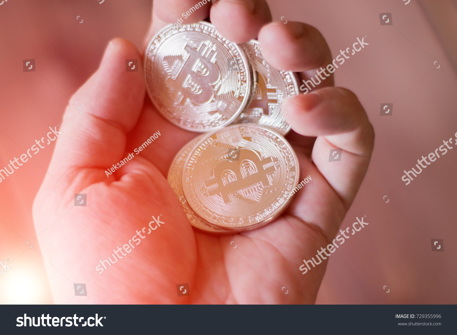 Bitcoins In The Hand A Concept From Coins Of Cryptocurrency