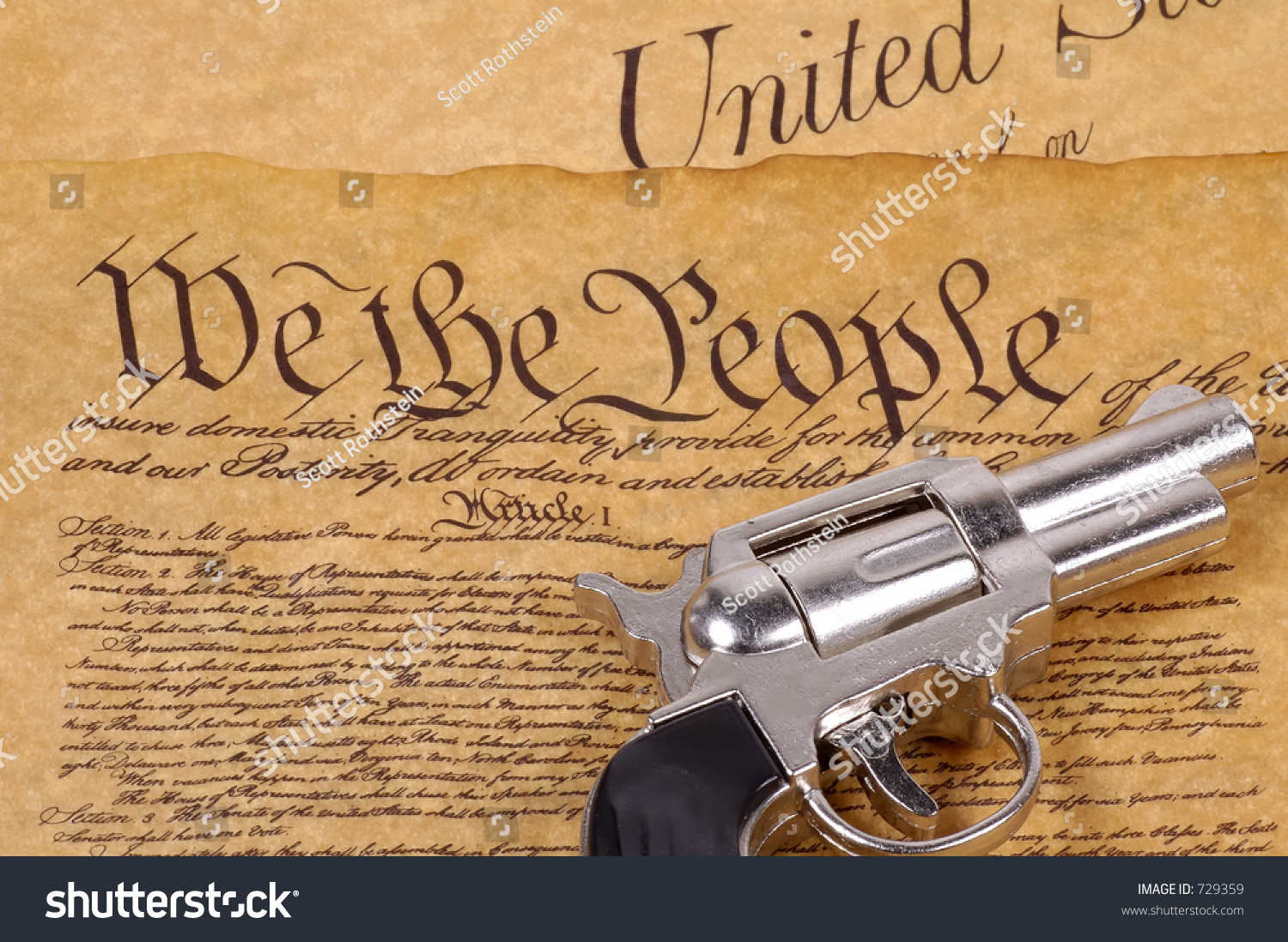 declaration independence gun right bare arms stock photo  declaration of independence and a gun right to bare arms concept