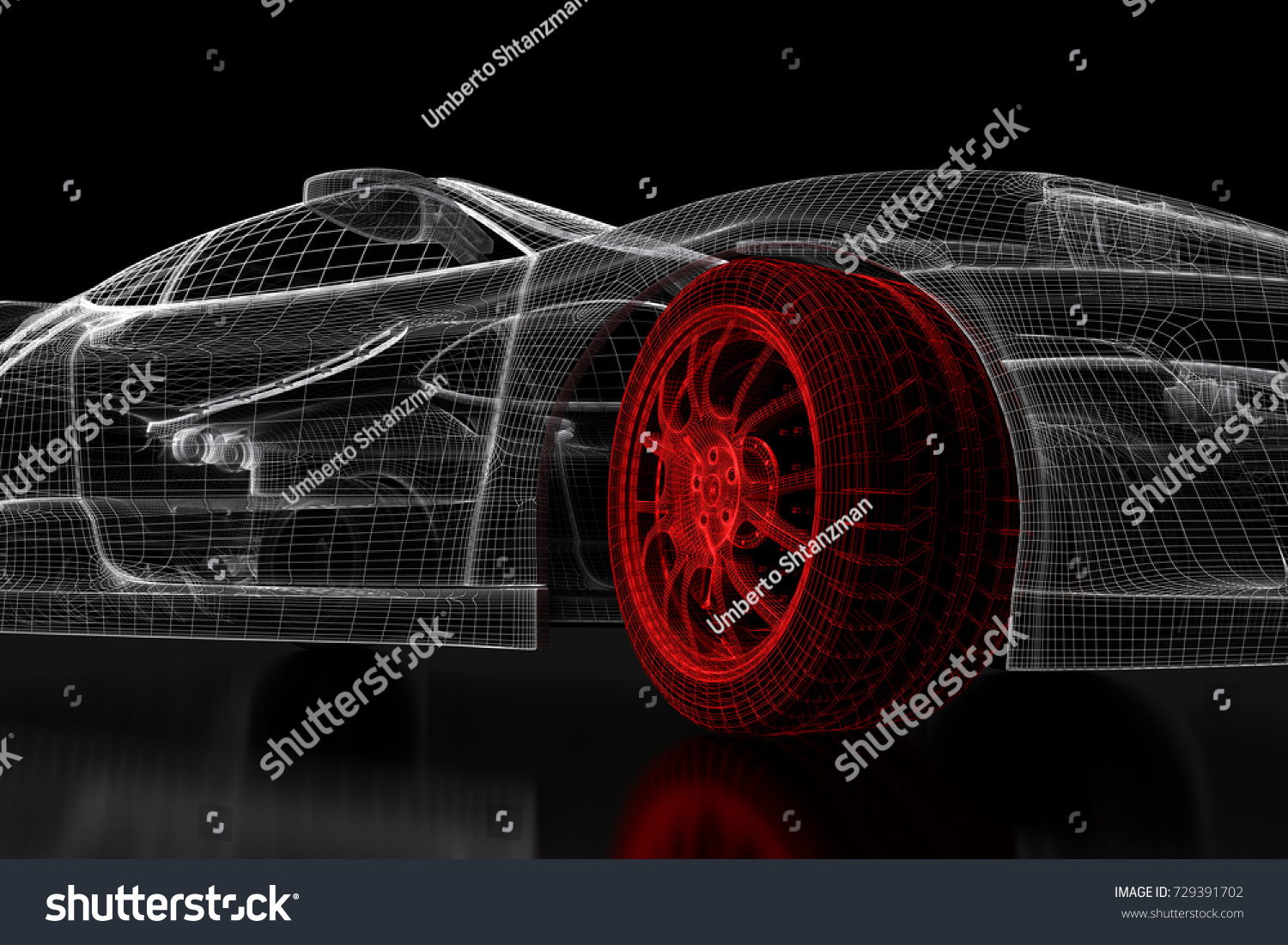 Car vehicle 3 d blueprint mesh model stock illustration 729391702 car vehicle 3d blueprint mesh model with a red wheel tire on a black background malvernweather Gallery