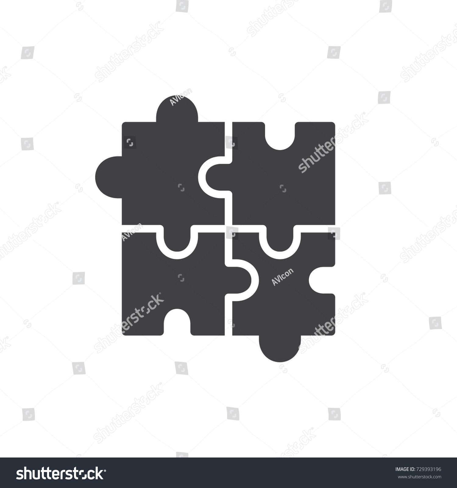 Puzzle Icon Vector Filled Flat Sign Stock Vector (Royalty Free ...