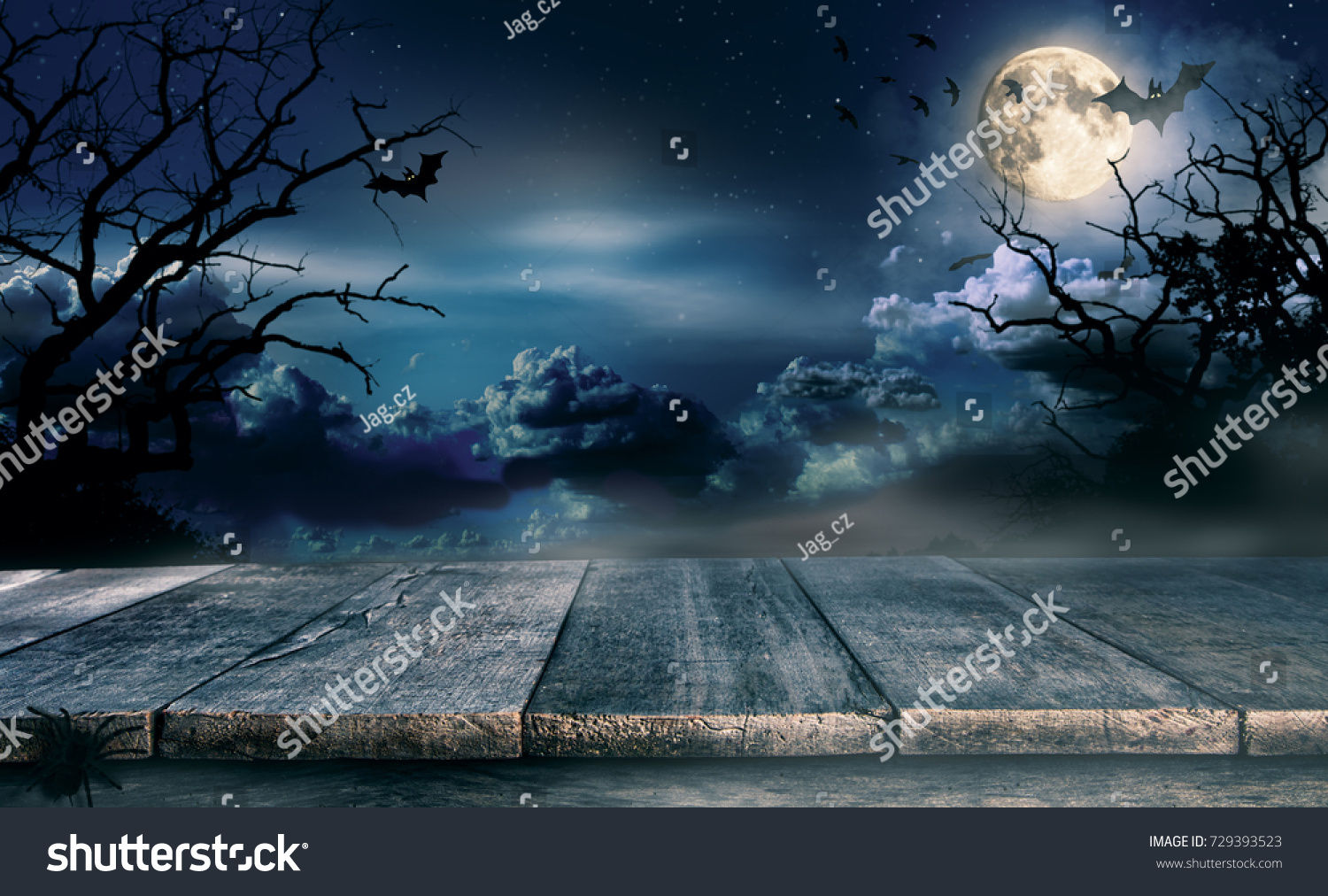 spooky halloween background empty wooden planks の写真素材 今すぐ