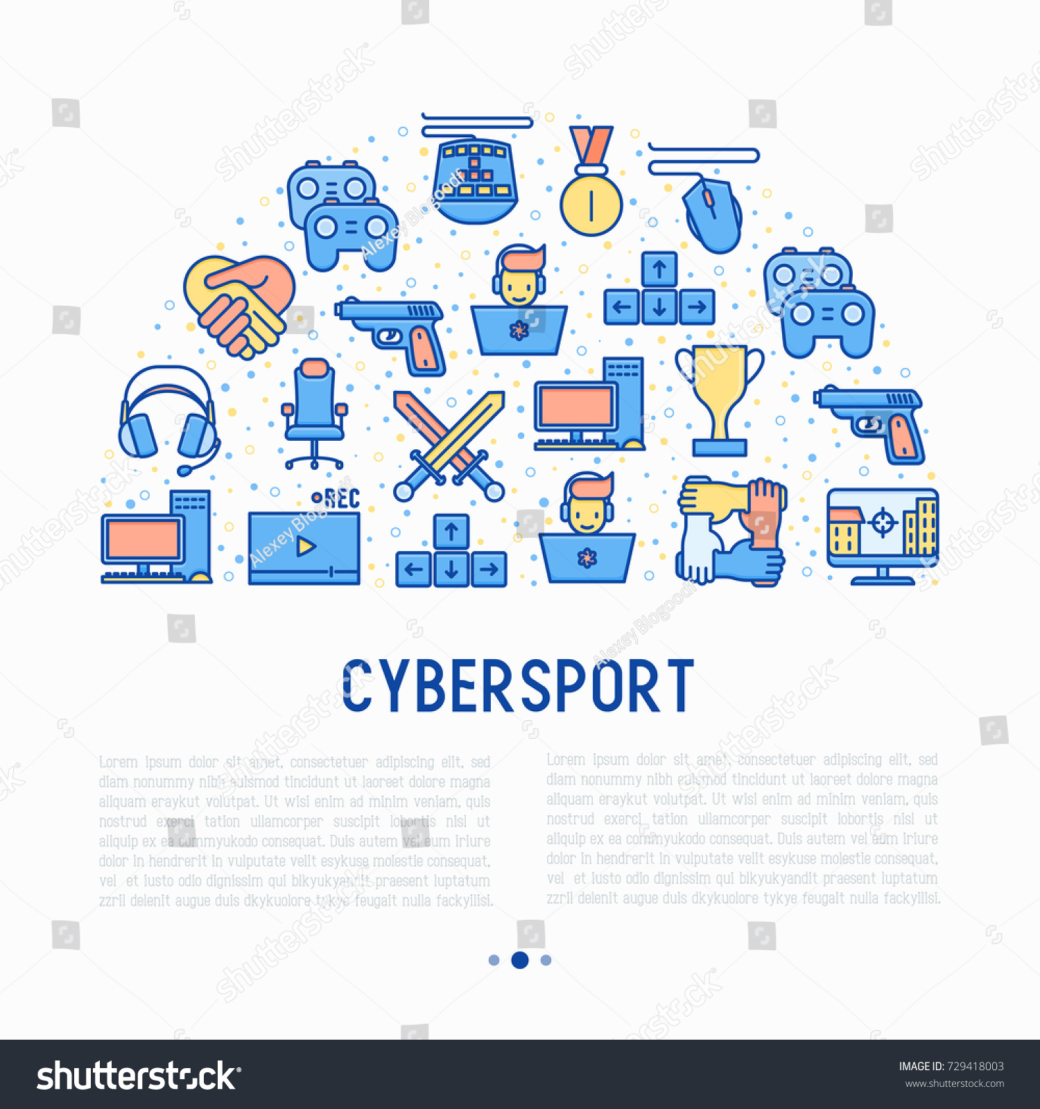 cybersport concept half circle thin line stock vector