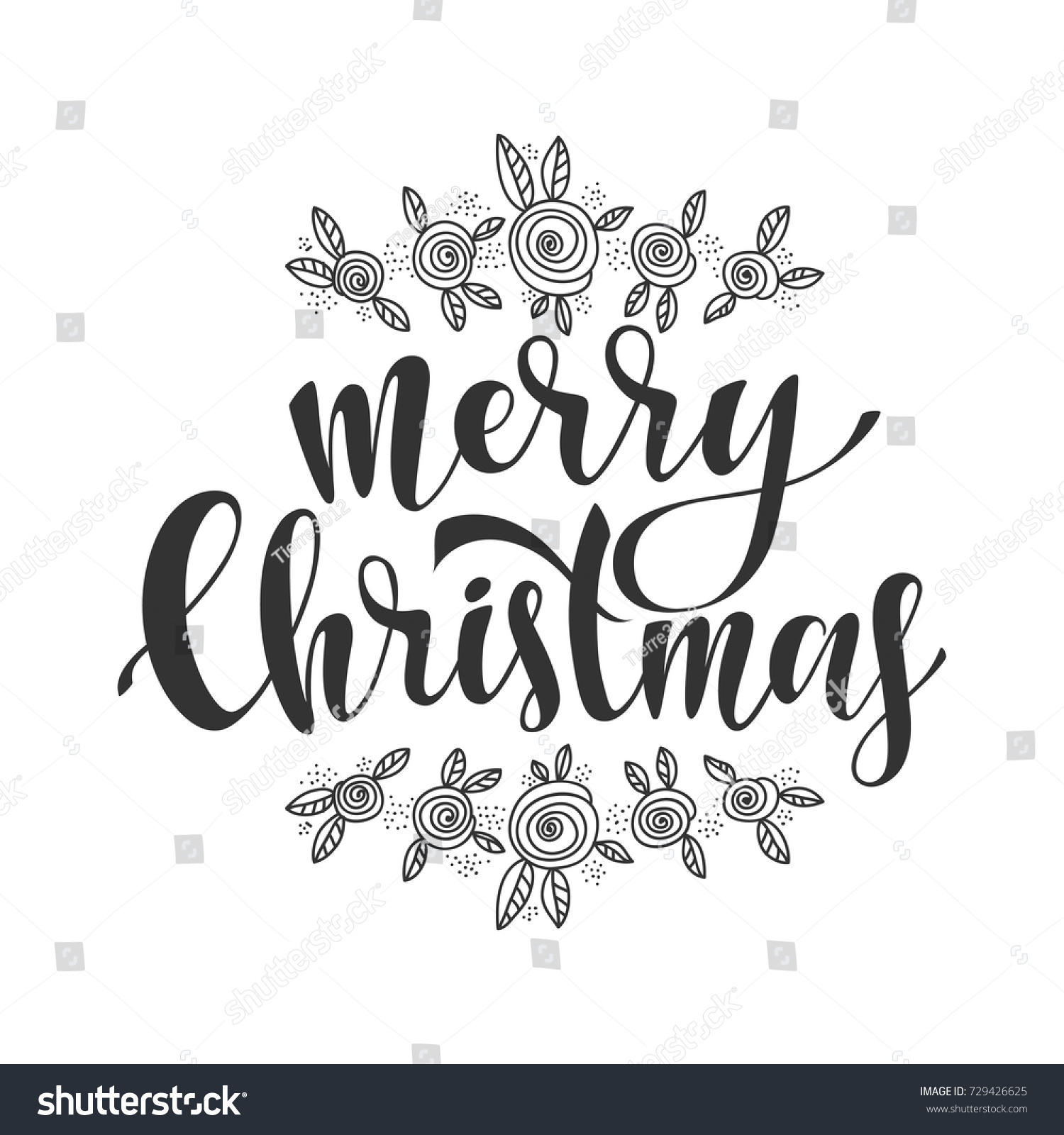 Merry Christmas Vector Text Calligraphic Lettering Design Card Template. Creative Typography For Holiday Greeting Gift