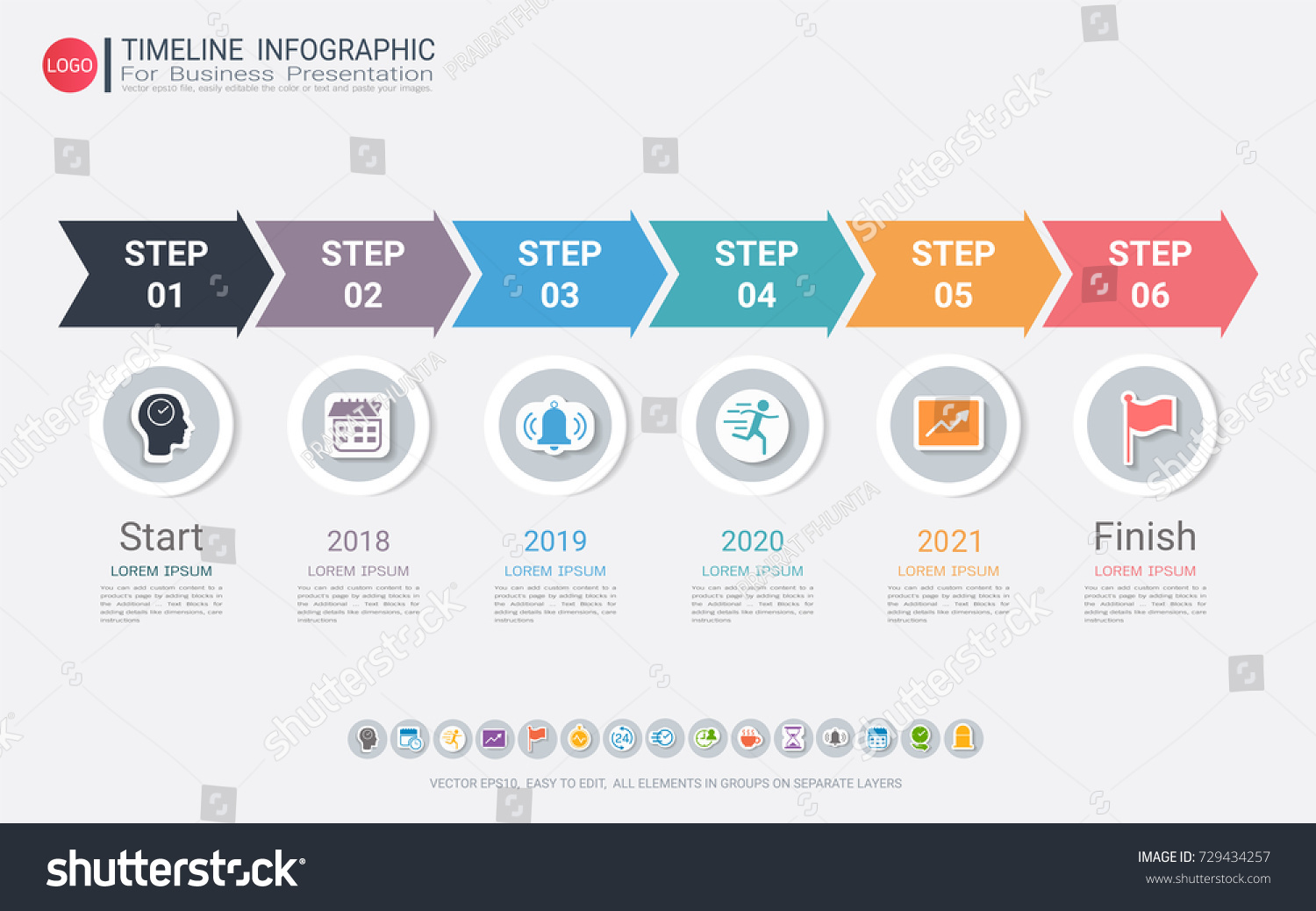 milestone timeline infographic design road map or strategic plan to define company values used