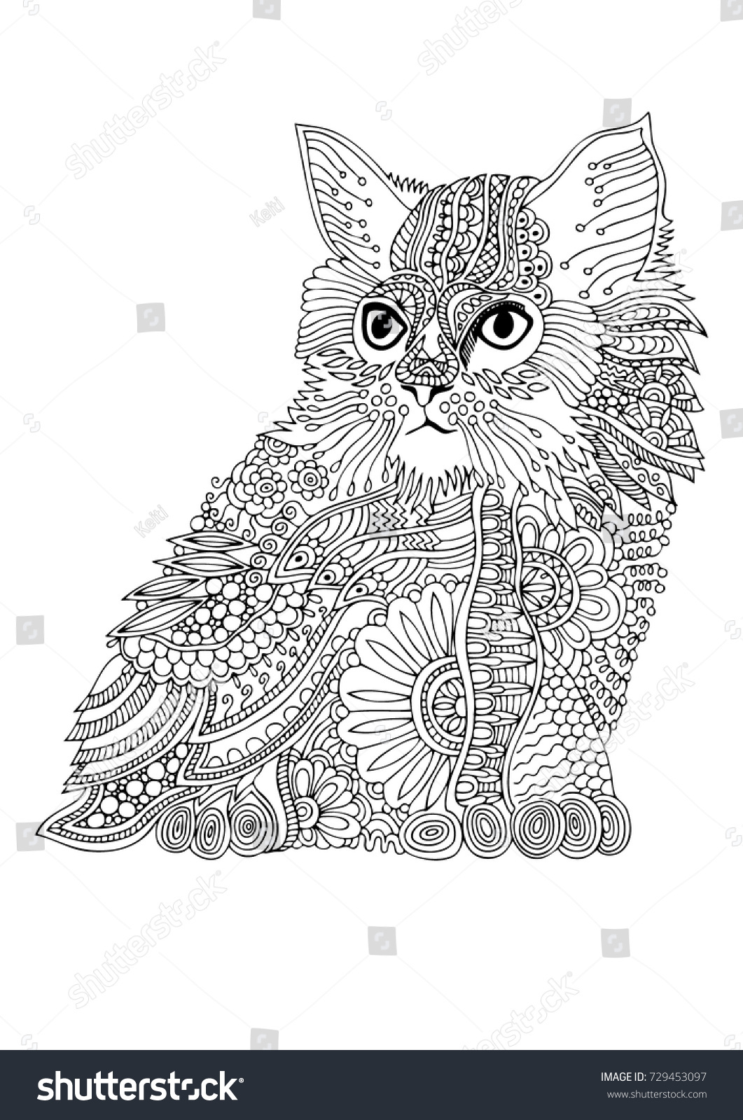 Zen cat coloring page - Hand Drawn Cat Sketch For Anti Stress Adult Coloring Book In Zen Tangle