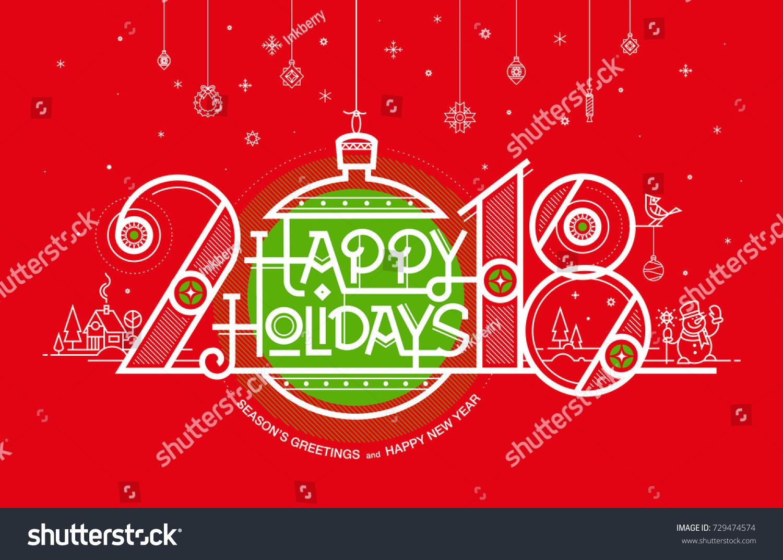 Happy New Year Card 2018 Seasons Stock Vector Royalty Free