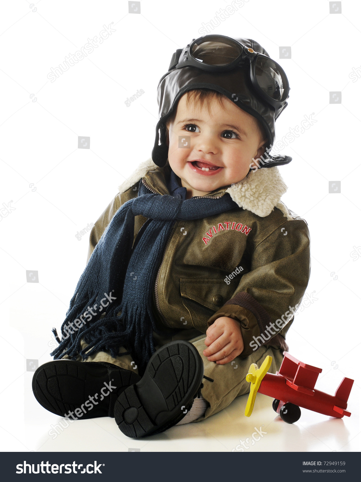 Fashion Toys For Boys : Adorable baby boy oldfashioned pilots outfit stock photo