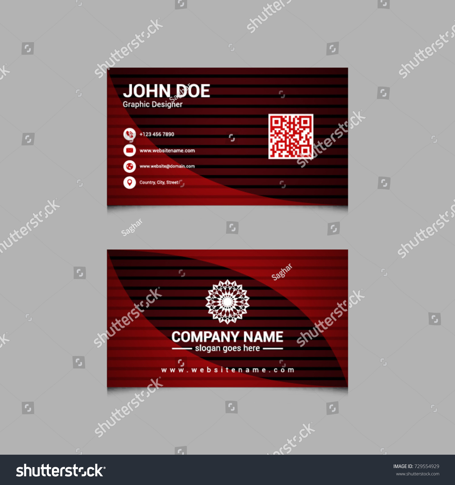 Creative Red Business Card QR Code Stock Vector HD (Royalty Free ...