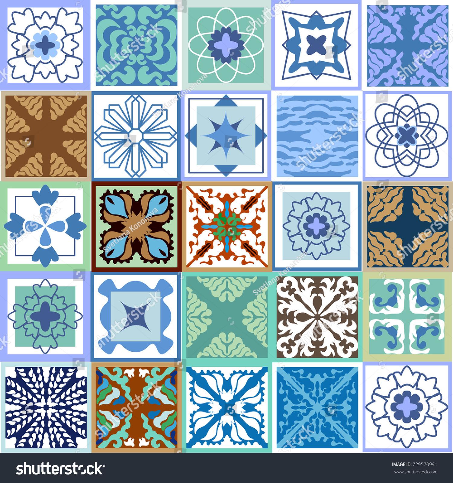 Colorful Set Vintage Ceramic Tiles Glazed Stock Vector 729570991 ...