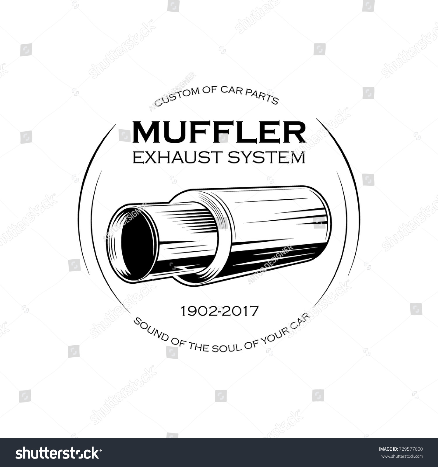 Car Exhaust Pipe Muffler Monochrome Label Stock Vector (2018 ...