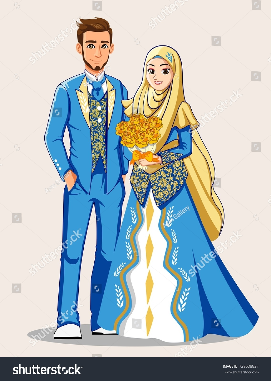 Muslim Wedding Couple Blue Gold Color Stock Vector 729608827 ...
