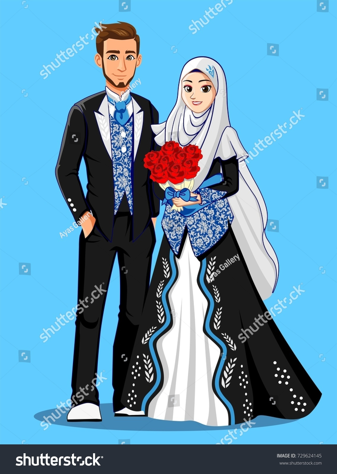 Muslim Wedding Couple Black Blue Suit Stock Vector HD (Royalty Free ...