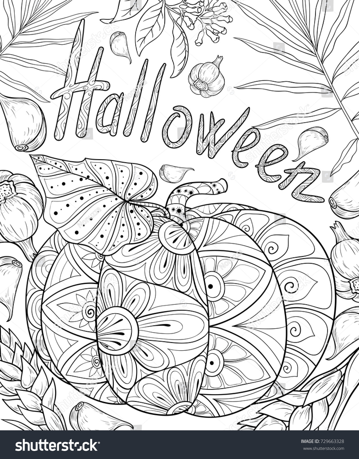 Halloween art therapy coloring pages - Adult Coloring Page Book A Halloween Day Zen Art Style Illustration