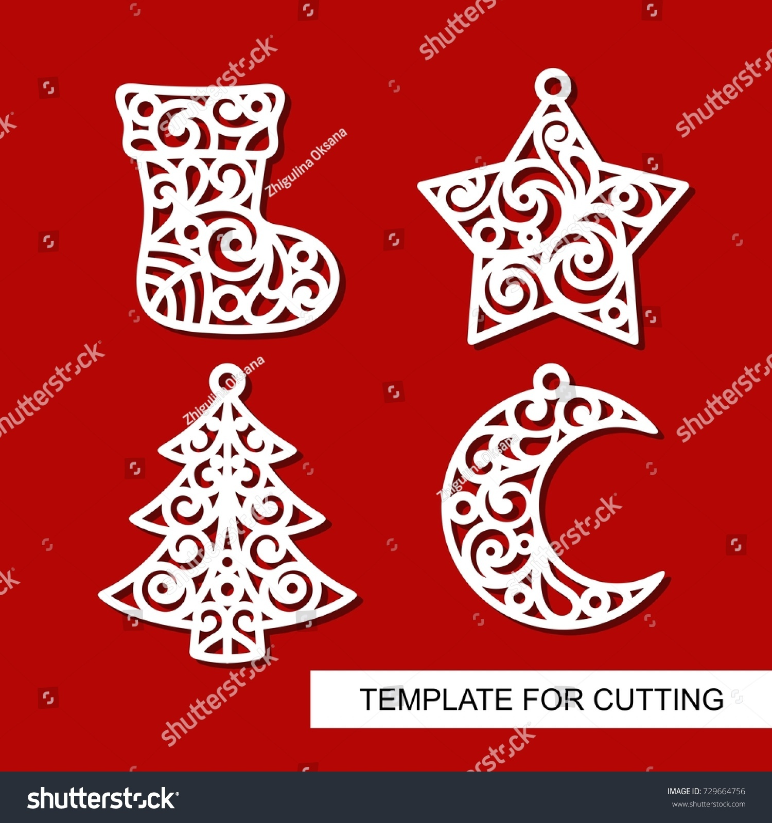 set of christmas decoration sock star xmas tree and crescent templates for