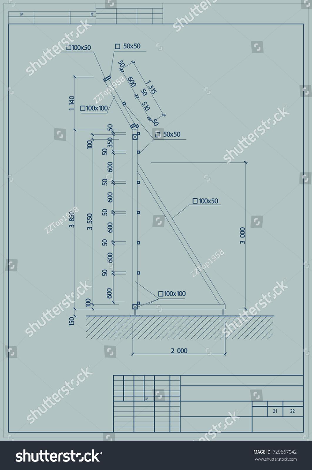 Architectural design engineering equipment elevation blueprint stock the architectural design of the engineering equipment elevation blueprint vector malvernweather Images