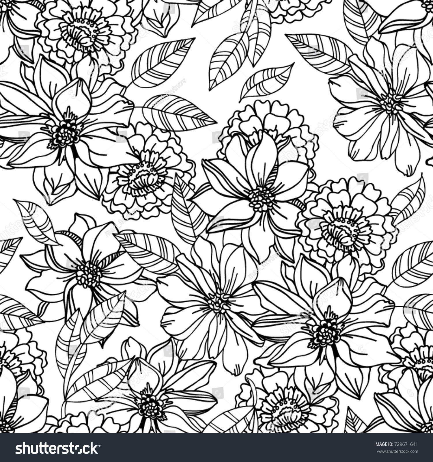 Black And White Flower Pattern For Coloring Endless Floral Drawing