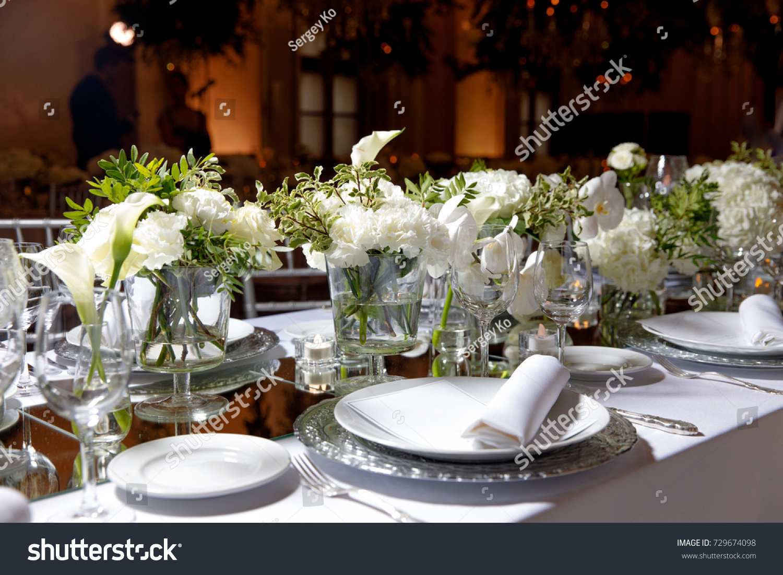 White Color Flower Arrangement Gala Dinner Stock Photo Edit Now