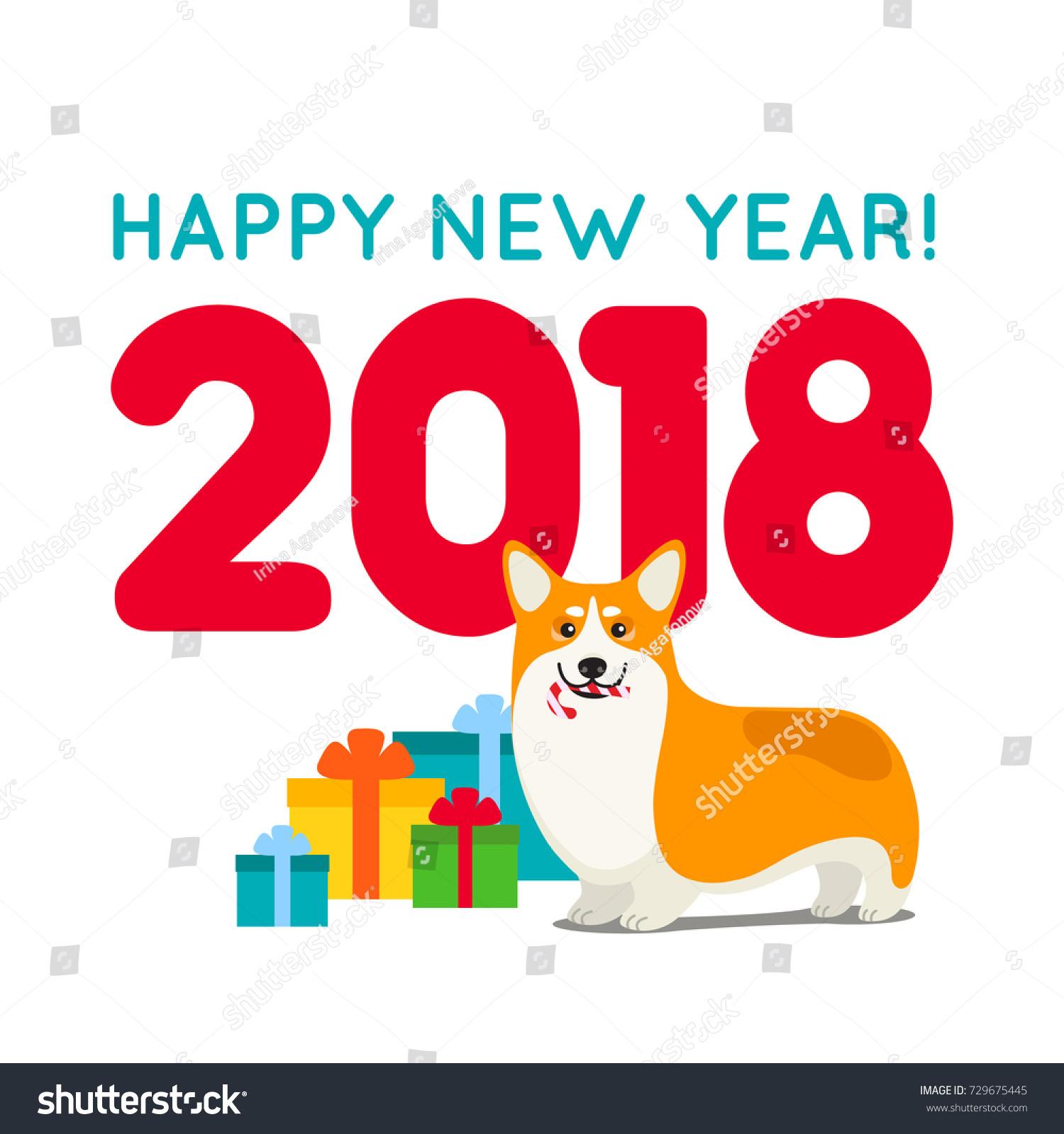 Creative 2018 New Year Greeting Card Stock Vector 729675445
