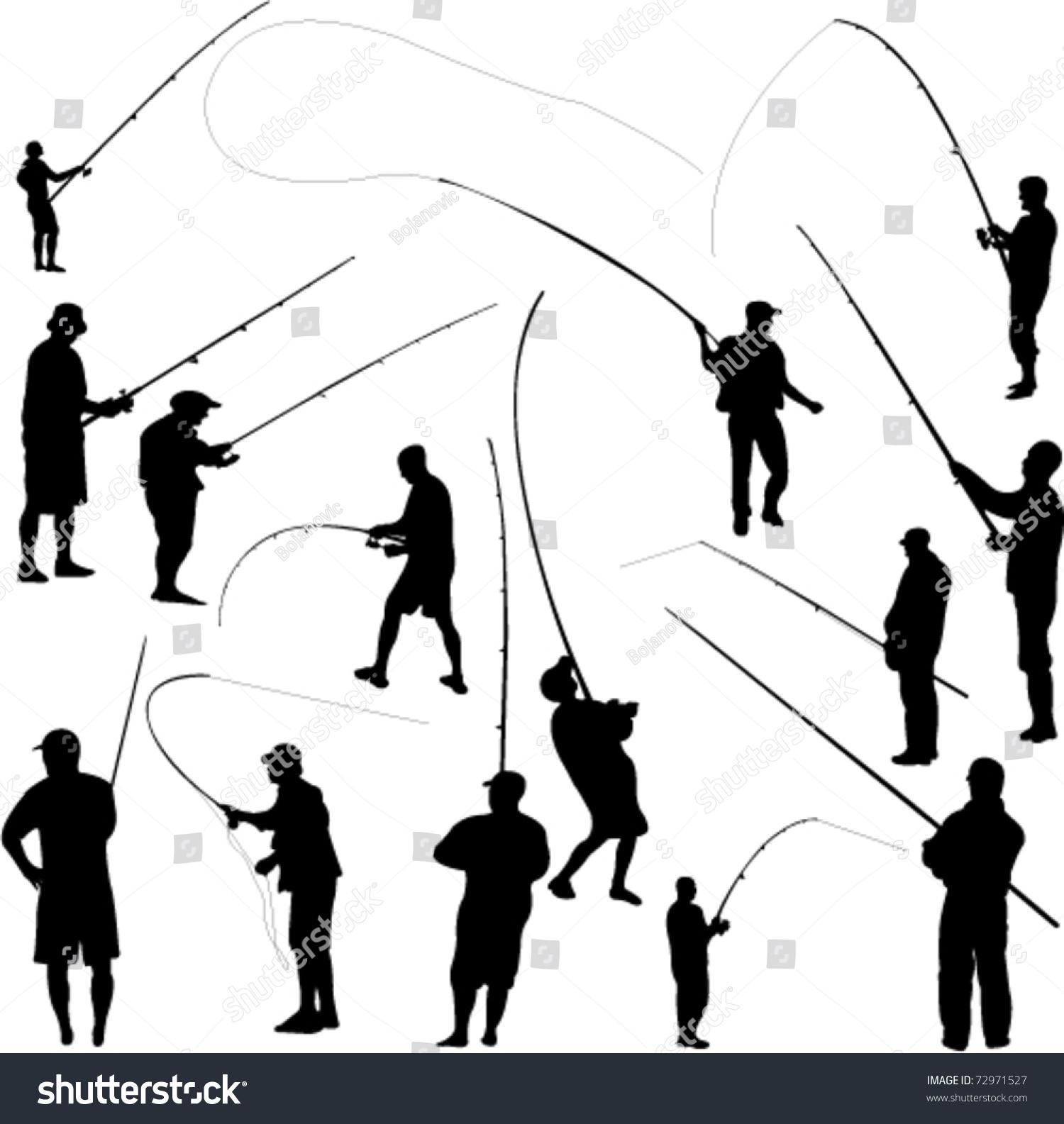 Fishermen Fishing Vector Stock Vector 72971527 - Shutterstock
