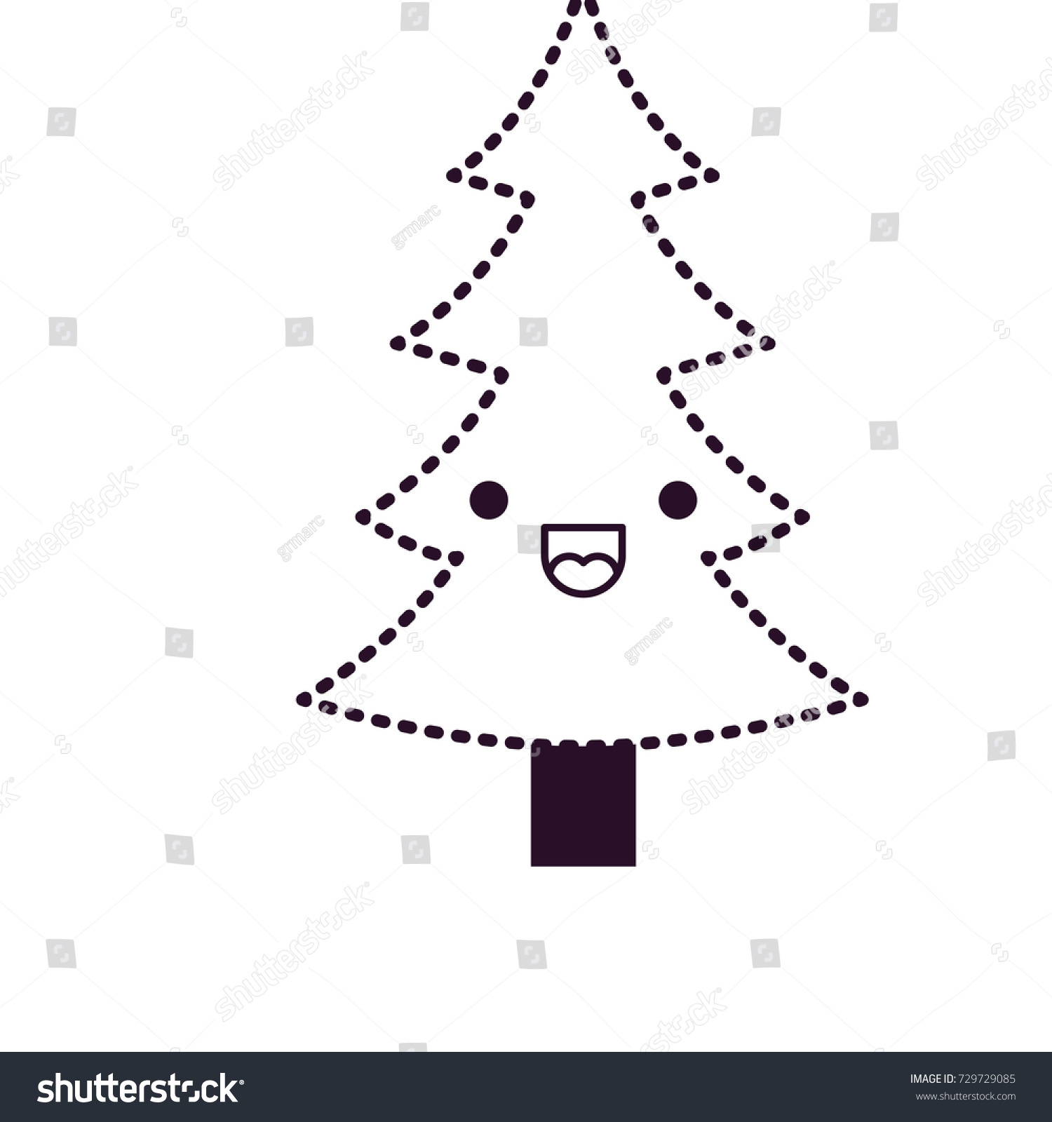 Kawaii Christmas Tree Trunk Happiness Expression Stock Vector ...
