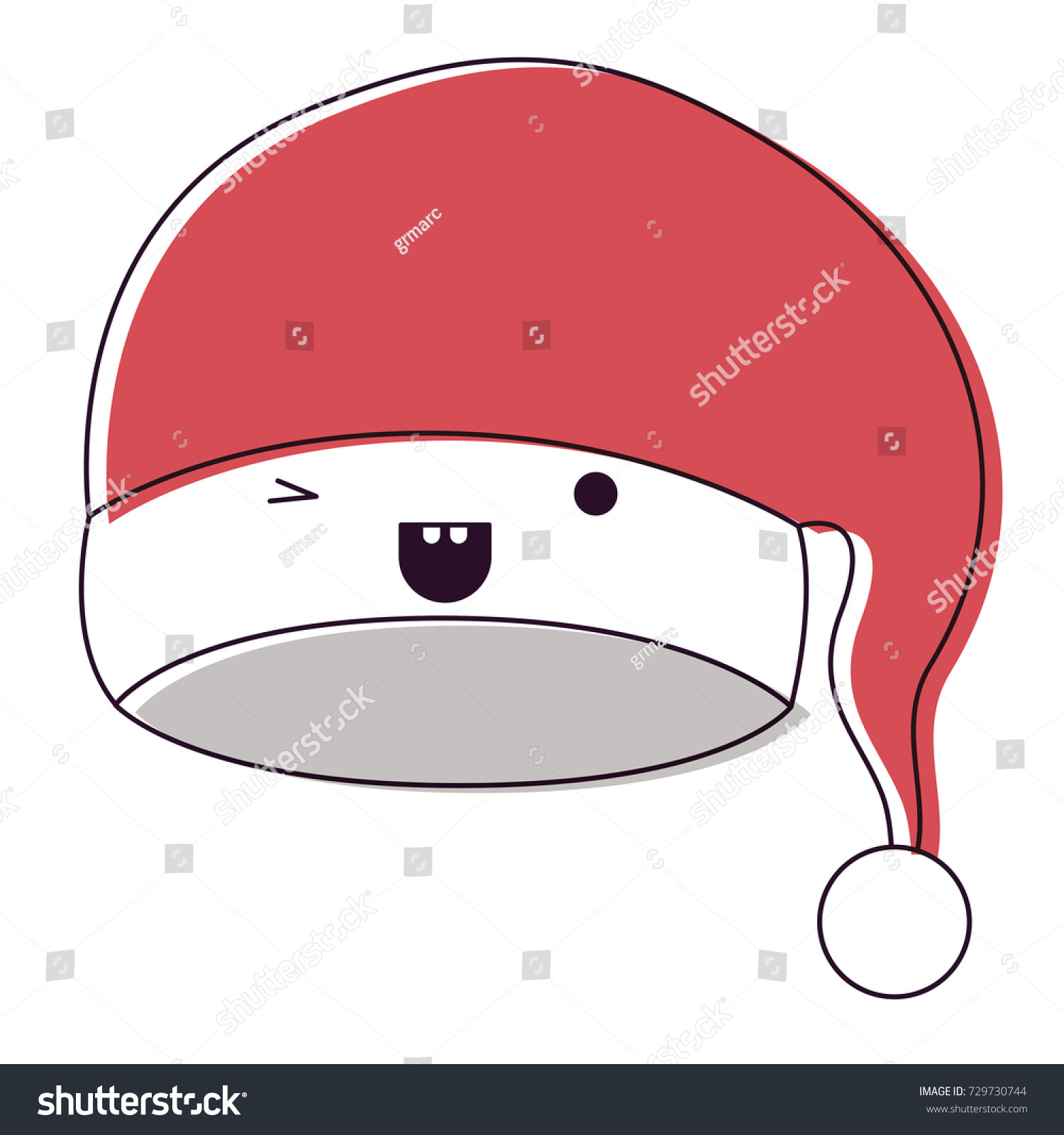 Kawaii Christmas Hat Santa Claus Wink Stock Vector (Royalty Free ...