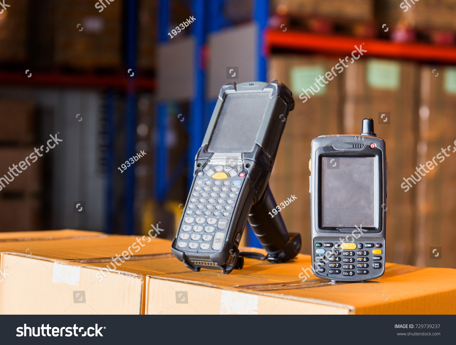 Bluetooth Barcode Scanner Warehouse Factory Stock Photo