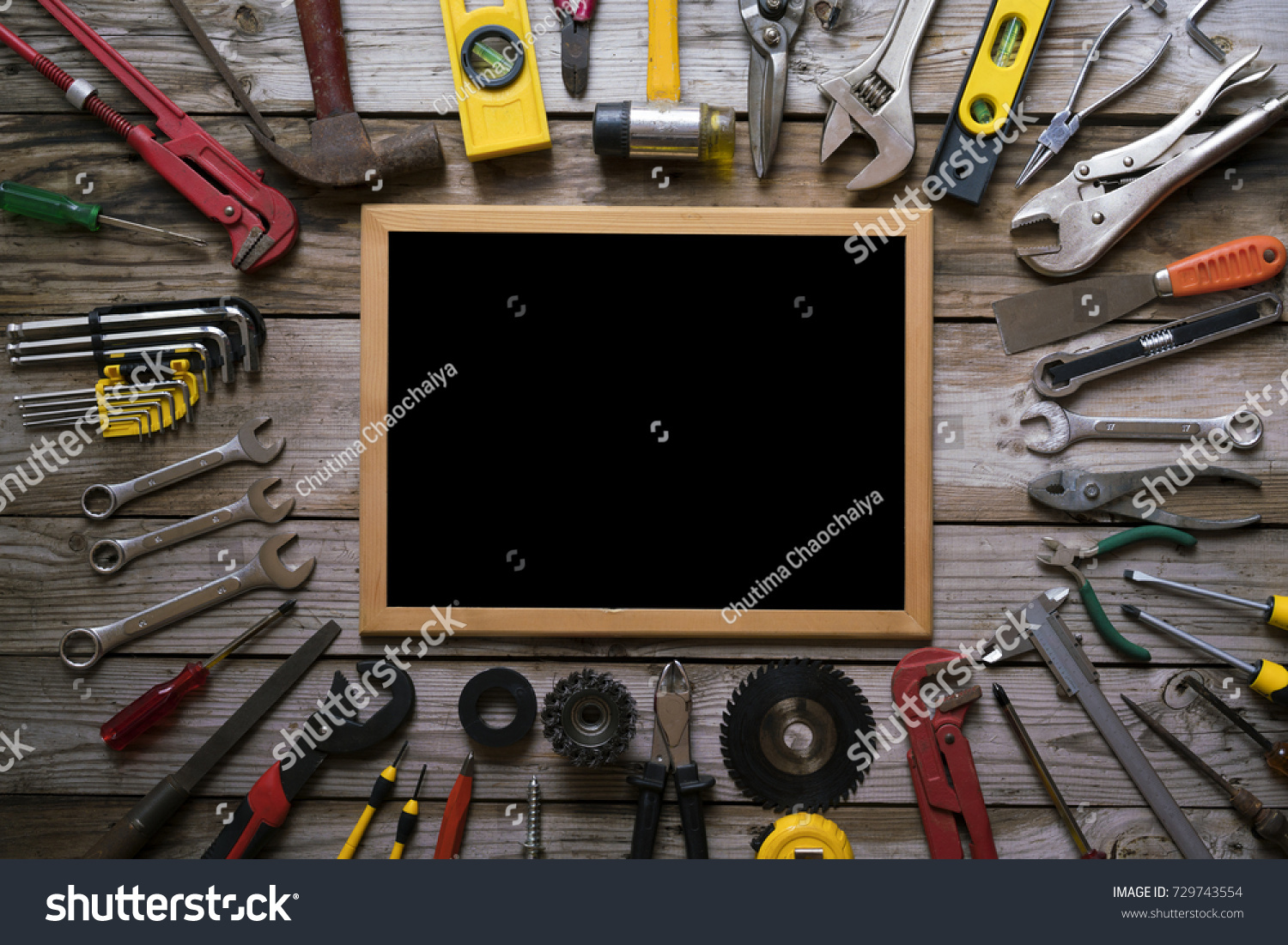 Old Tools Equipment Blackboard On Wood Stock Photo 729743554 With Table Background Engineering Concept