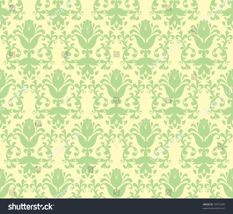 Seamless Light Green Floral Wallpaper Background 72975295