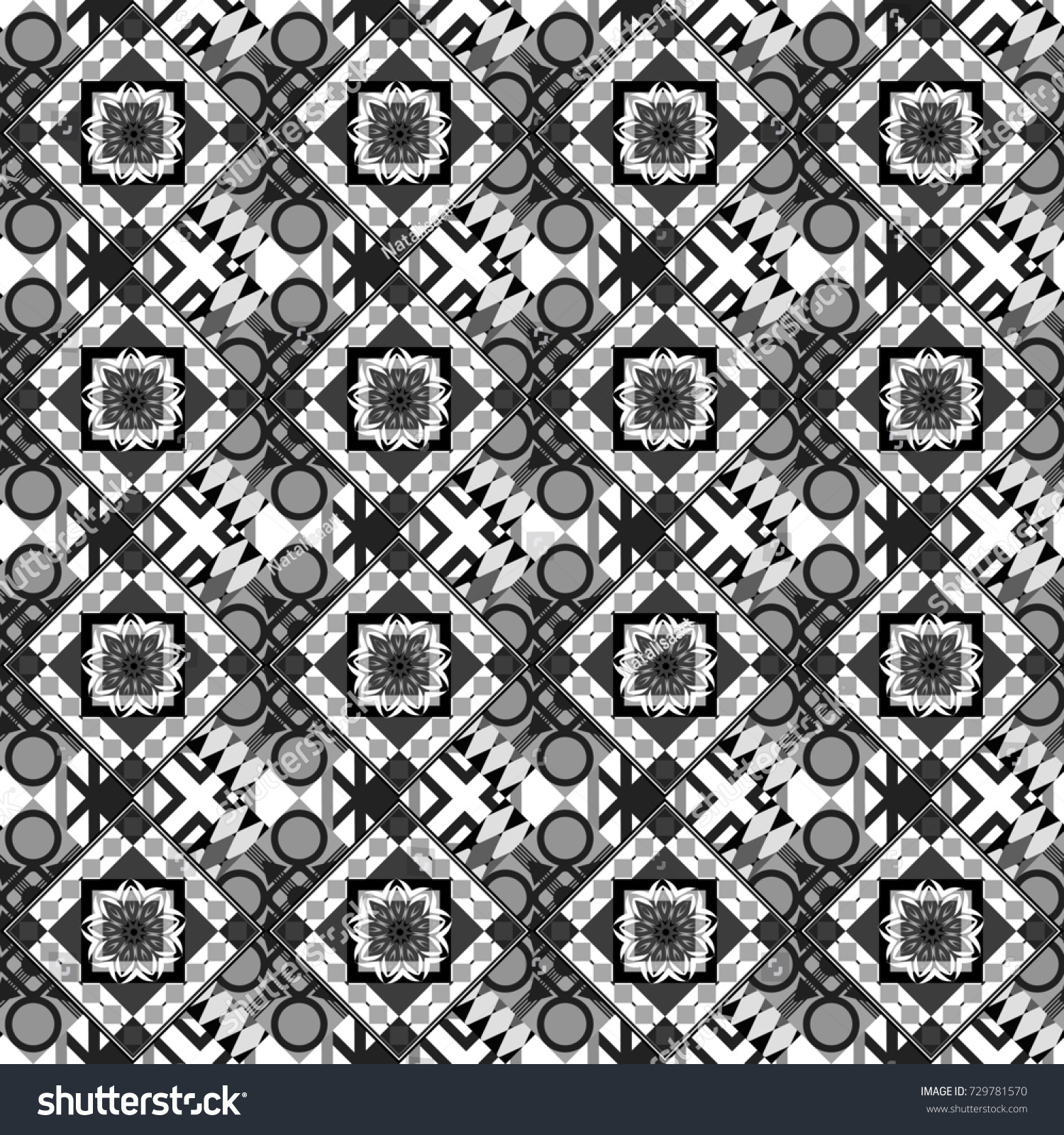Creative Seamless Pattern, Modern Diagonal Abstract Background With Geometric Elements